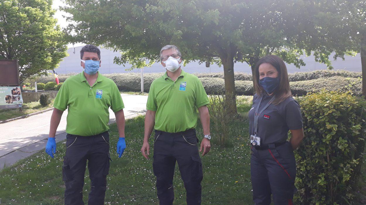 Préposés recyparc masqués